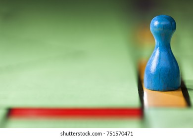 Close up of pawn on a board game with selective focus