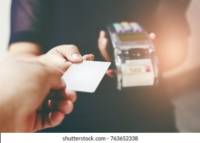 Close up of a payment machine with credit card