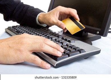 Close up Payment on during using Credit card from customer in shopping mall