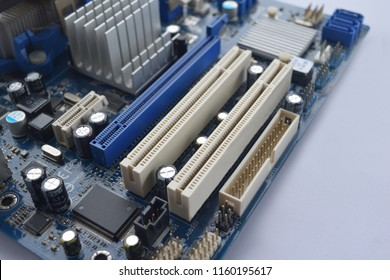 Close up PCI Express slots on motherboard. Focus on slot
