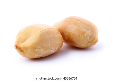 Close up of peanuts isolated on white background.