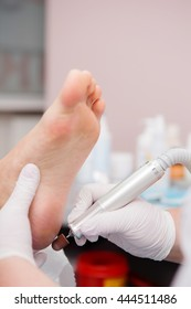 Close up pedicure process