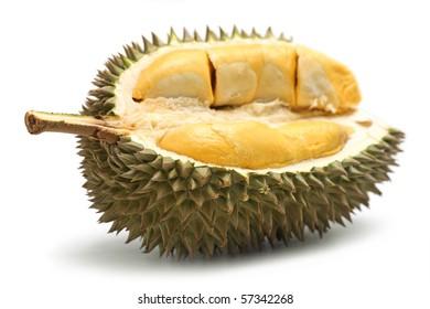 Close up of peeled durian isolated on white background.
