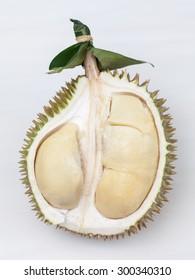 Close up of peeled durian on white background.