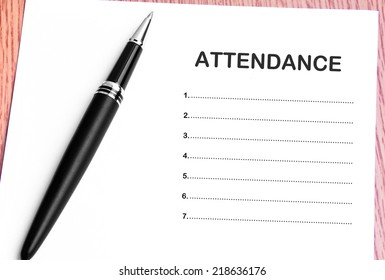 Close Up Pen And Attendance List
