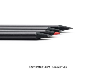 close up the pencils black and red in mack up on white background. for concept design