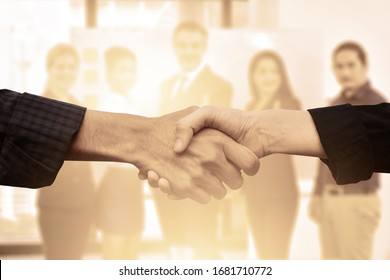 Close up people hands shake business partnership success,Shake hand concept