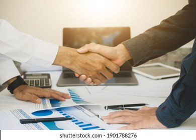 Close up people hands shake business partnership success, Shake hand concept