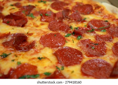 Close up of a Pepperoni Pizza