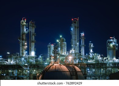 Close up of petrochemical plant with night, Glitter lighting of industry, Glowing lights of factories Oil and gas refining industrial with twilight sky background