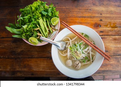 Close up of Pho noodle soup in restaurant in Luang Prabang, Laos.  Pho is traditional Vietnamese noodle soup, now is popular food widespread around the world.