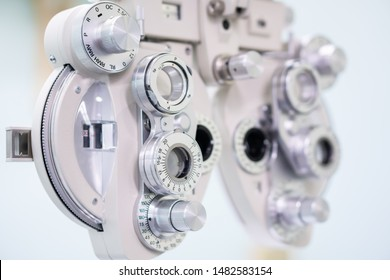 Close up Phoropter for Optometrist doing sight testing in In Hospital