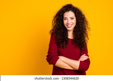 Close up photo amazing attractive her she lady glad self-confident arms crossed leisure rejoice wearing maroon knitted pullover clothes outfit isolated yellow bright background