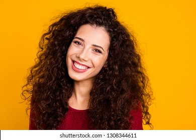Close up photo amazing beautiful attractive her she lady kindhearted imagination flight wide smile wearing maroon knitted pullover clothes outfit isolated yellow bright background