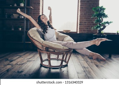 Close up photo amazing beautiful brunette she her lady homey living room long waited vacation having fun eyes closed morning wearing domestic home apparel clothes outfit sit comfy arm-chair