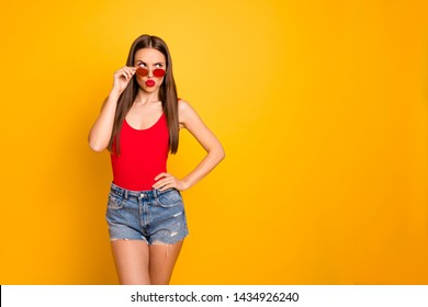 Close up photo of amazing beautiful lady have doubts think over important decision wear specs jeans denim shorts red body tank-top