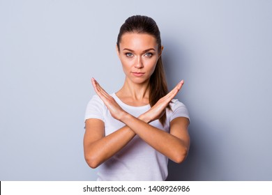 Close up photo amazing beautiful she her lady pretty hairstyle arms hands fingers palms crossed not allow violence stop war make love calling wear casual white t-shirt clothes isolated grey background