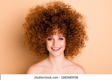 Close up photo amazing she her no clothes lady wealth curls fashion star just finished salon procedure stylist perming roller hair curlers naturally ideal skin body isolated beige pastel background