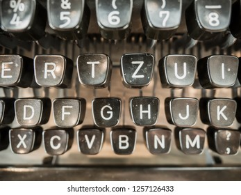 Close up photo of antique typewriter keys, selective focus.