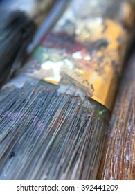 Close up photo of artist's paint brushes
