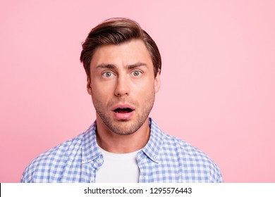 Close up photo of attractive amazed really oh no he him his man do not want such bad finish ending mouth opened wearing casual plaid shirt outfit isolated on pale rose background