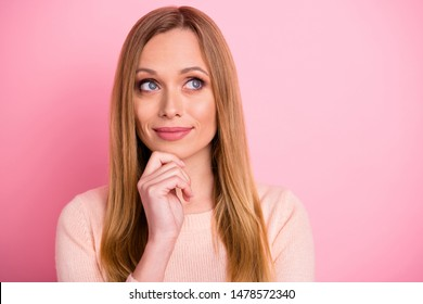 Close up photo of attractive lady look have thoughts touch chin hands palms isolated over pink background