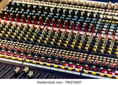 Close up photo of audio mixer. Sound control panel at concert