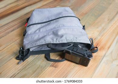 Close up photo bag and camera
