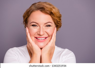 Close up photo beautiful amazing mature she her lady friendly check touch facial perfect fresh soft skin cheeks cheekbones wash lotion smearing cream wear white t-shirt isolated grey background