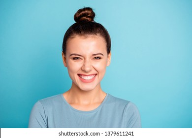Close up photo beautiful amazing she her lady giggling ecstatic black friday low little prices shopping shopaholic festive party mood wear casual sweater pullover isolated blue bright background