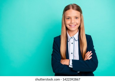 Close up photo beautiful amazing she her little lady pretty hairdress like studying school weekend vacation mood wear formalwear shirt blazer school form isolated bright teal turquoise background