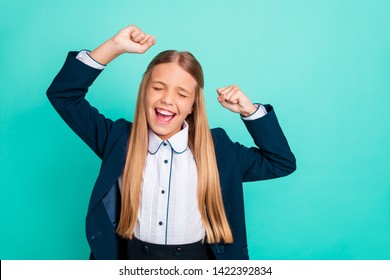 Close up photo beautiful amazing yelling she her little lady hands arms raised up glad end finish last studying day wear formalwear shirt blazer school form isolated bright teal turquoise background
