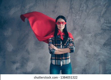 Close up photo beautiful fearless she her superpower lady comics costume heroine women equal rights concept strong hands arms wear red eye mask flight mantle home room loft apartment flat indoors