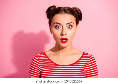 Close up photo beautiful she her lady pretty two buns unexpected news big eyes opened mouth speechless oh no face bright pomade lipstick wear casual striped red white t-shirt isolated pink background