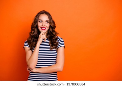 Close up photo beautiful she her lady tempting red pomade lips eyes look empty space imaginary flight news novelty wear casual striped white blue t-shirt clothes isolated orange bright background