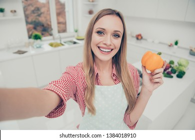 Close up photo beautiful she her lady cooking housewife done preparations delicious dish make take selfies hold pepper social cuisine blogger wear domestic apron shirt bright home kitchen indoors