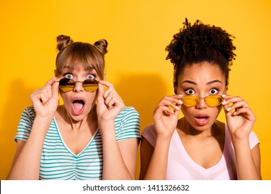 Close up photo beautiful she her lady hands arms raised take off sun specs different nationalities eyes full fear epic fail wear casual white striped t-shirt clothes isolated yellow bright background