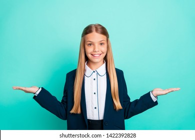 Close up photo beautiful she her little model open arms empty space proposition pick select one better option price wear formalwear shirt blazer school form isolated bright teal turquoise background