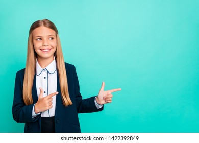 Close up photo beautiful she her little lady love study education hand arm index finger empty space low prices school wear formalwear shirt blazer school form isolated bright teal turquoise background