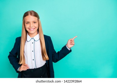 Close up photo beautiful she her little lady pretty hairdo like love study school hand arm index finger empty space wear formalwear shirt blazer school form isolated bright teal turquoise background