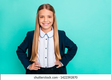 Close up photo beautiful she her little lady pretty hairdress like studying school weekend vacation hands arms sides wear formalwear shirt blazer school form isolated bright teal turquoise background
