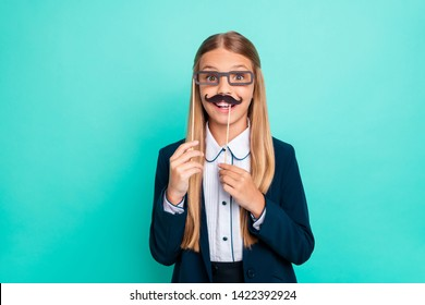 Close up photo beautiful she her little lady funky fake paper eyeglasses moustache like boy he him 1 september party wear formalwear shirt blazer school form isolated bright teal turquoise background