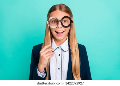 Close up photo beautiful she her little lady pretty hairdress funky fake paper eyeglasses eyewear 1 september party wear formalwear shirt blazer school form isolated bright teal turquoise background