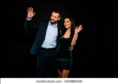 Close up photo beautiful she her classy chic lady he him his groomed handsome hug rich glossy red carpet event wear blue costume jacket pants velvet green shiny dress night isolated black background