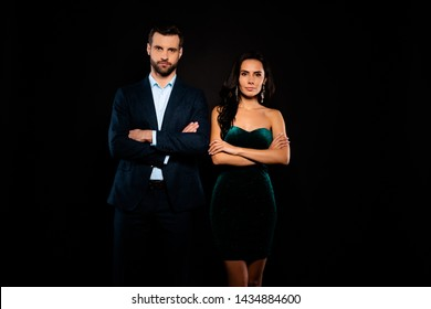 Close up photo beautiful she her classy chic lady wife he him his posing photographing well-dressed red carpet wear costume jacket pants velvet green shiny evening dress isolated black background