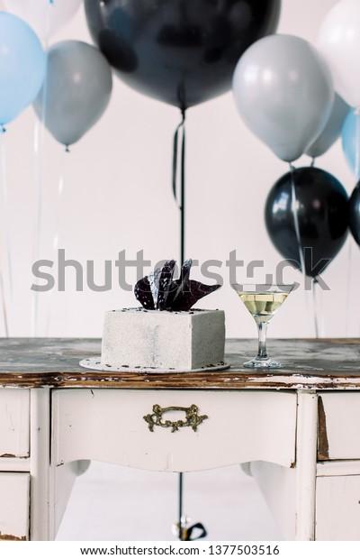 Marvelous Close Photo Birthday Cake Martini Cocktail Stock Photo Edit Now Funny Birthday Cards Online Benoljebrpdamsfinfo