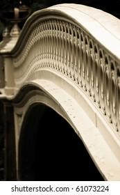 Close photo of the Bow Bridge in Central Park, NY