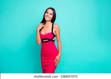 Close up photo brilliant beautiful amazing she her lady show white teeth perfect appearance skinny body long hairstyle wear formal-wear red tempting dress isolated teal turquoise bright background