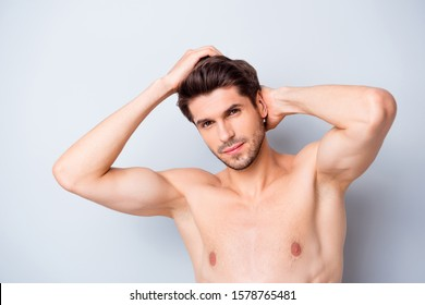 Close up photo of brutal macho man look mirror touch clean hairdo enjoy spa salon anti dander effect isolated over grey color background