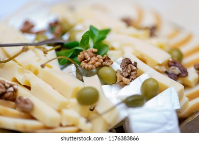 Close up photo of cheese platter with selection of various cheese served with walnuts and green olives